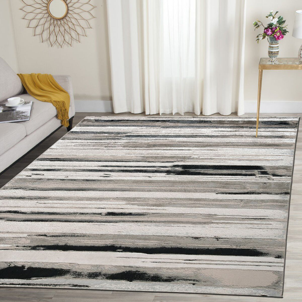 Metallic Contemporary Striped Rugs