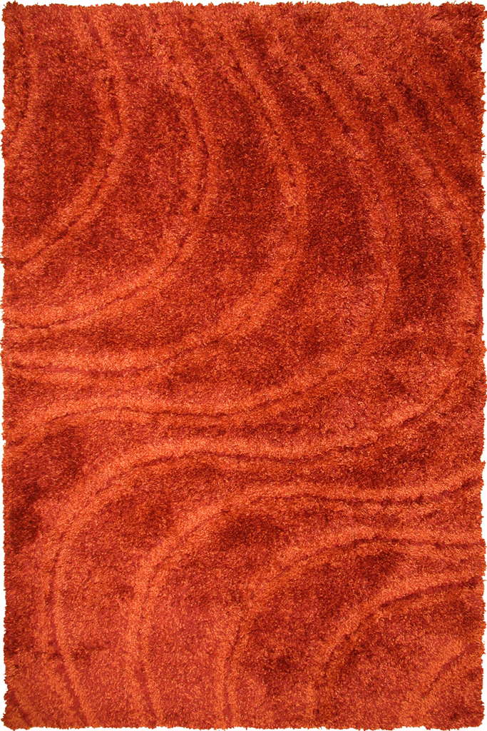 Red Terra Spiral Wavy Shaggy Luxurious Soft Pile Rug - Modern Interior Design Style - Australia