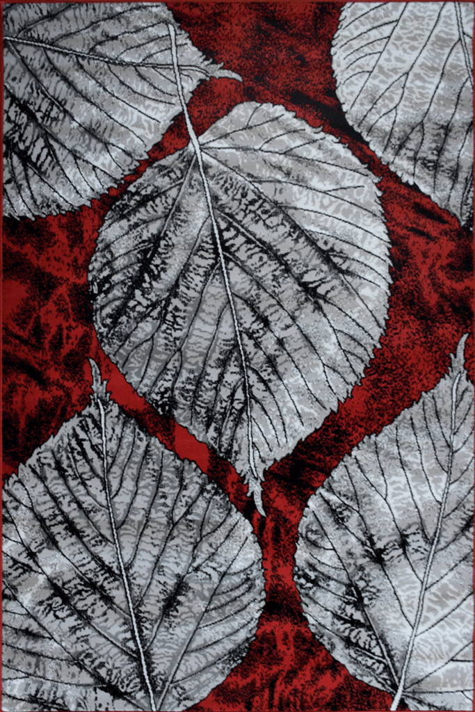 America Leaf Pattern Rugs  G024A Red Red