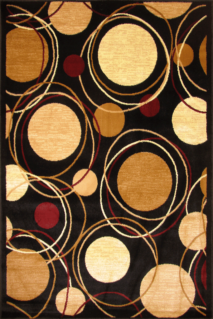 Hawaii Modern Circle Deisgn Rug  2364 Black