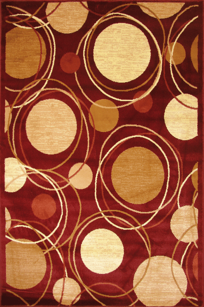 Hawaii Modern Circle Design Rug  2364 Red