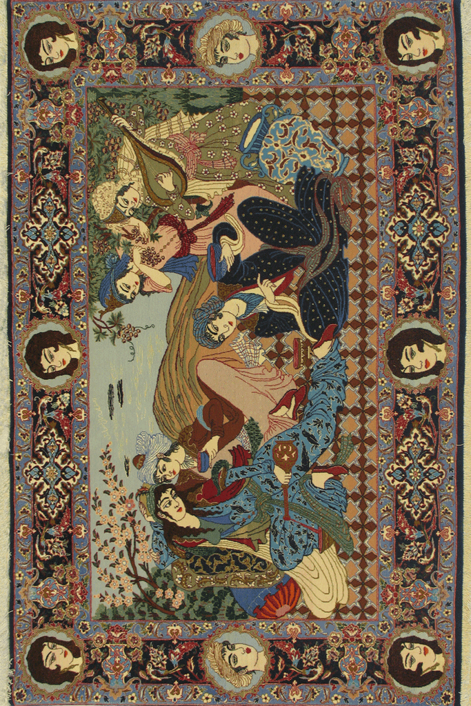 Isfahan Pictorial Hand Knotted Wool & Silk Rug