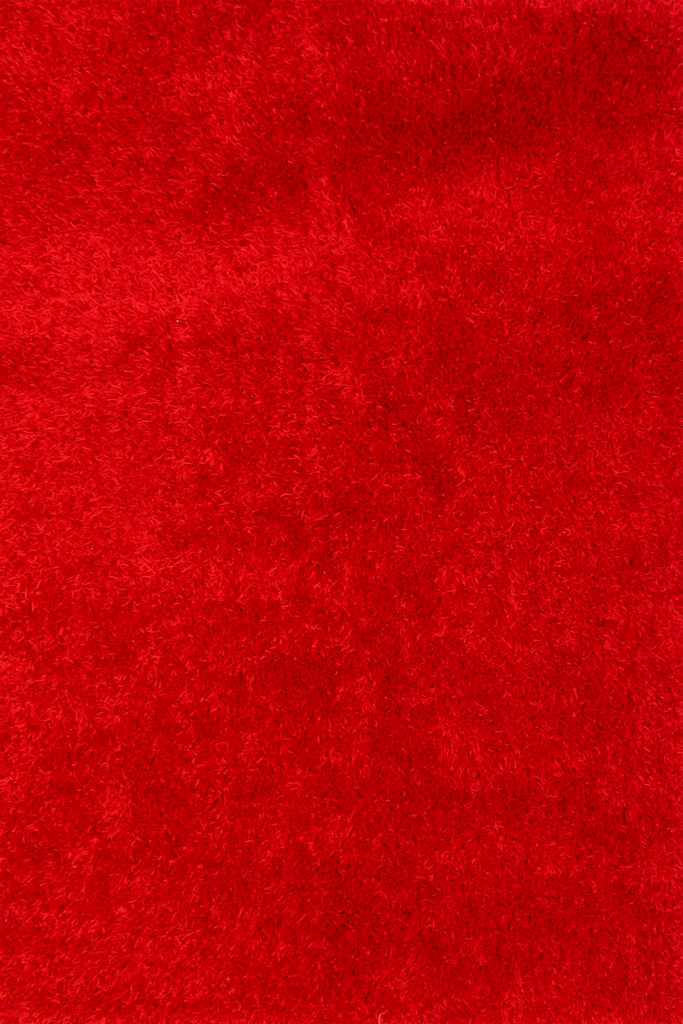 Red Shaggy Plain Rug - Retro Interior Design Style - Australia