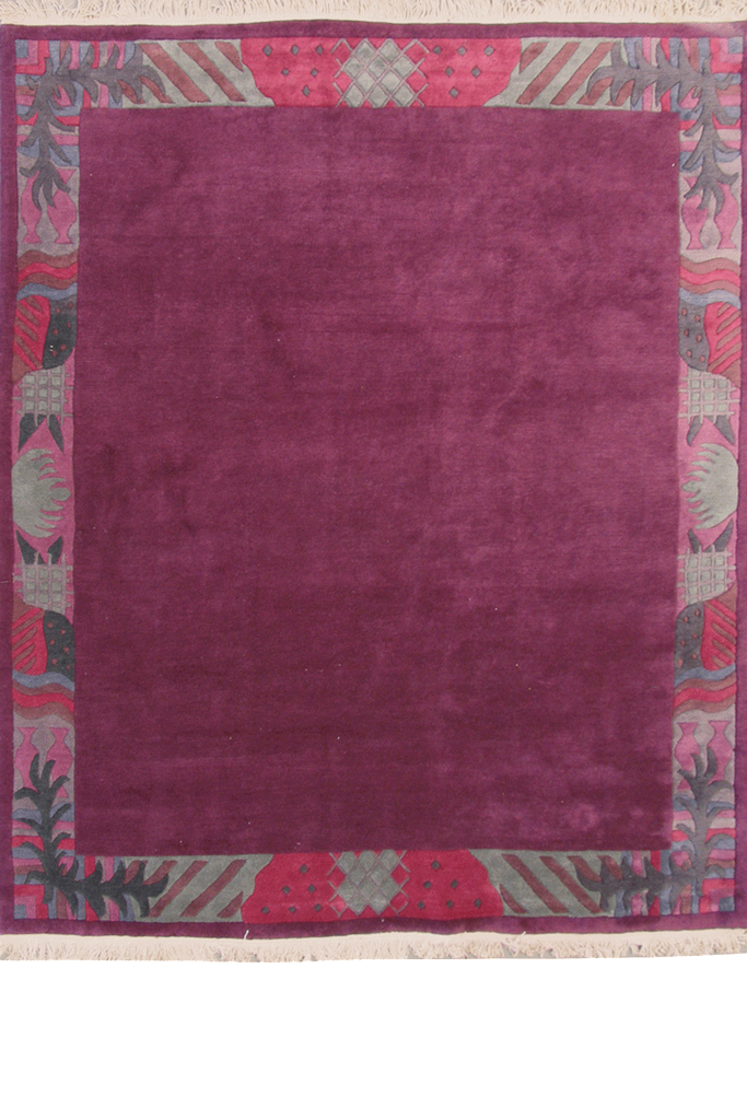 Nepal Hand Knotted Modern Border Wool Rug