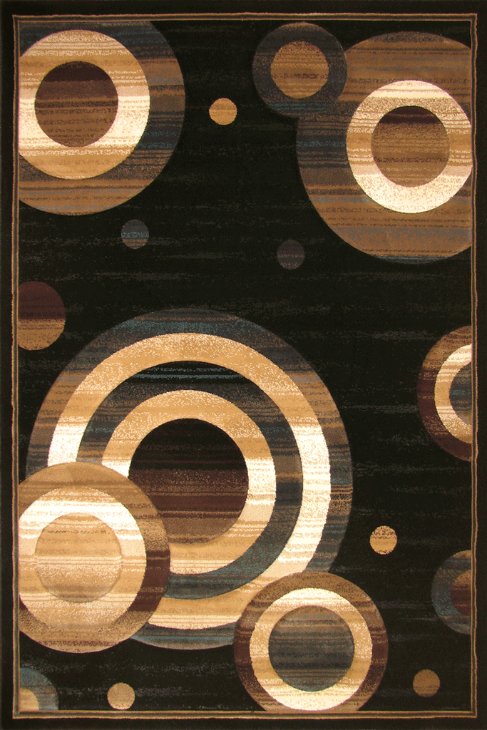 Pisa Contemporary Circle Design Rug - Black