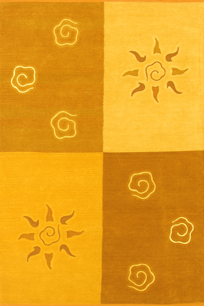 Yellow Gold Floral Plain Colour Block Flatweave Rug - Coastal Interior Design Style - Australia