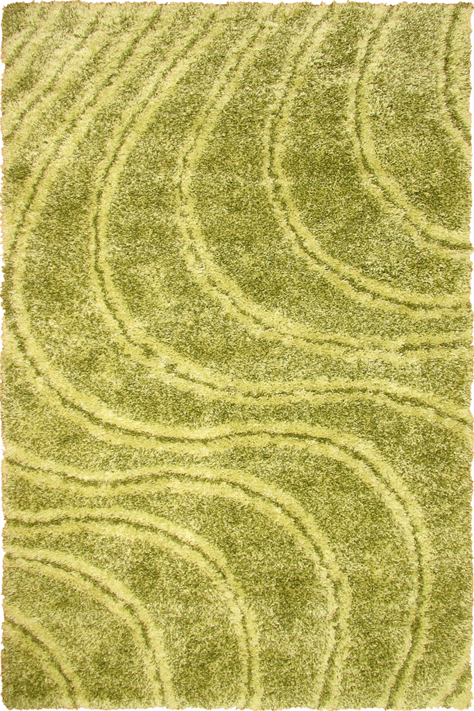 Lime Green Spiral Wavy Shaggy Luxurious Soft Pile Rug - Modern Interior Design Style - Australia