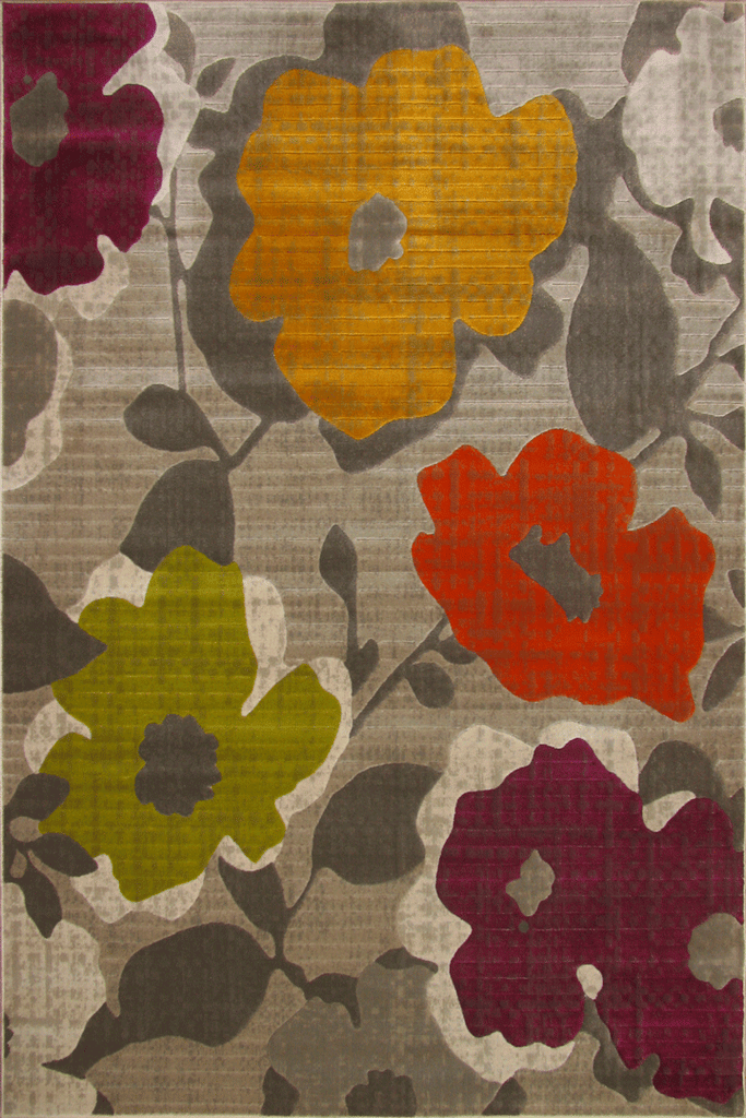 Luna Contemporary Floral Rug  4251X Beige L. Brown