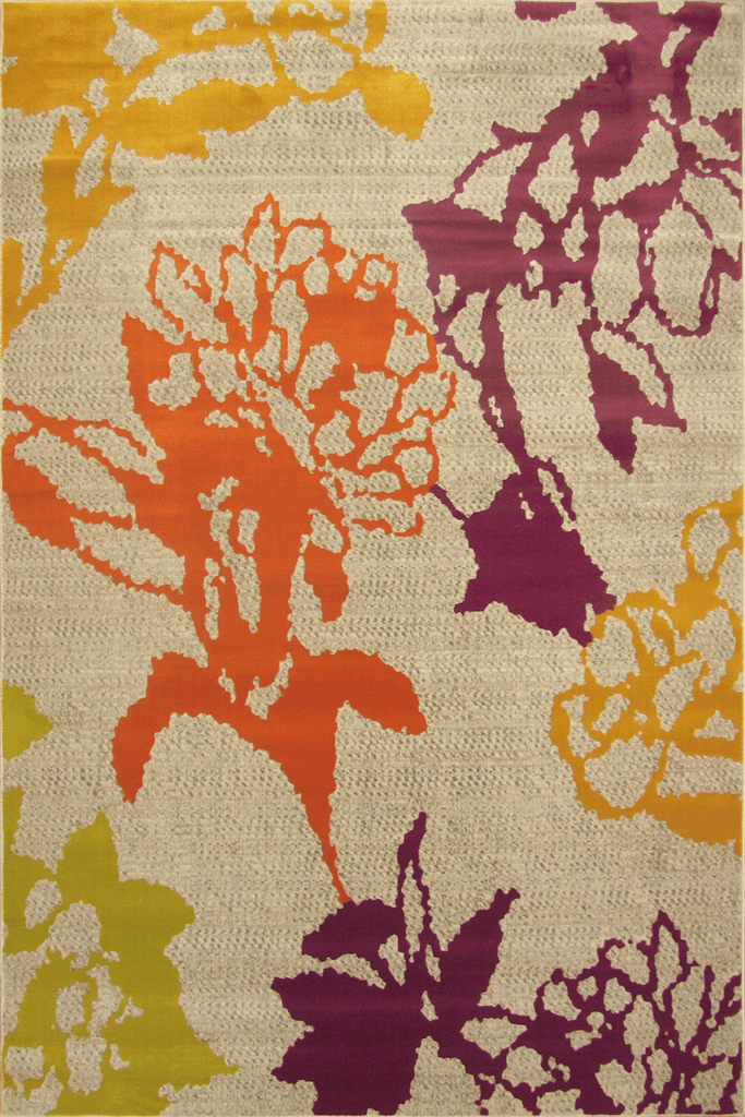 Luna Contemporary Floral Rug  4252X Beige Orange