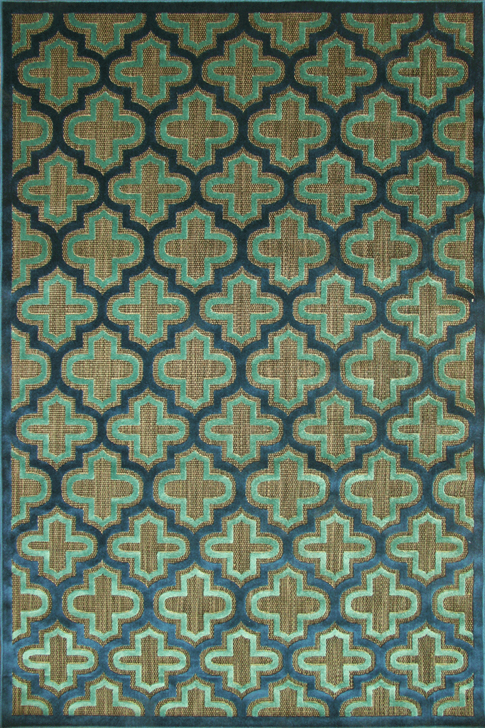 Green Blue Trellis Rug - Traditional Contemporary Interior Design Style - Australia
