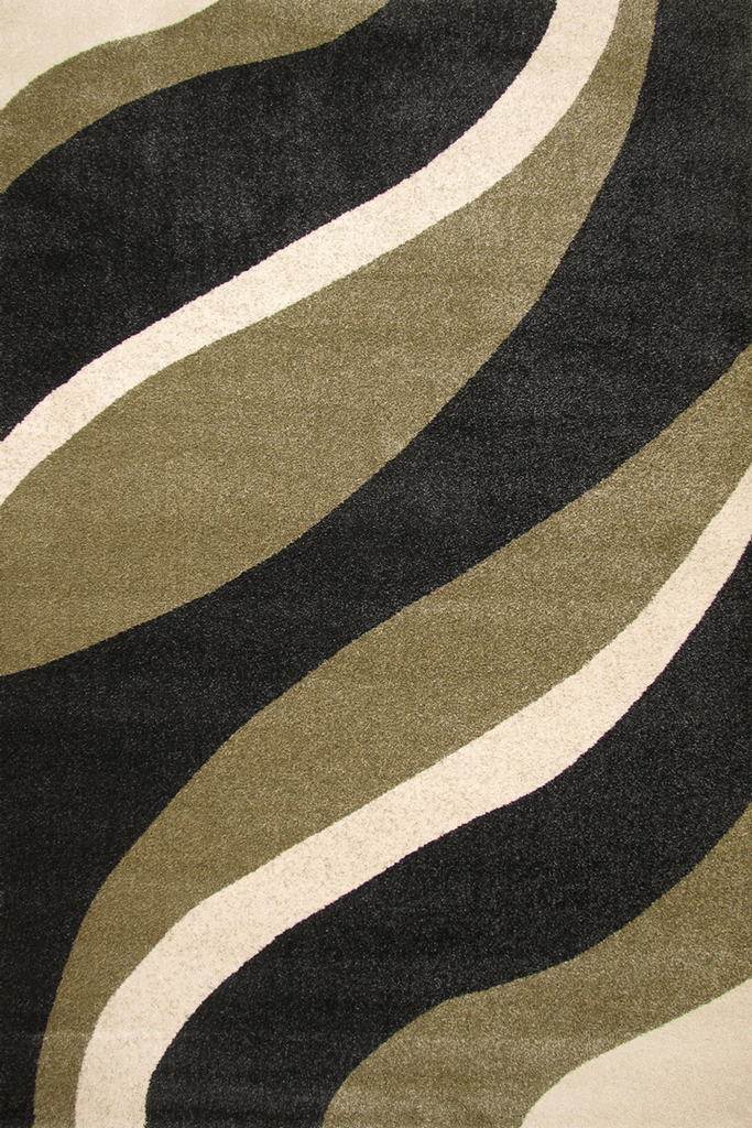 New York Modern Wavy Rug - Black/Sage
