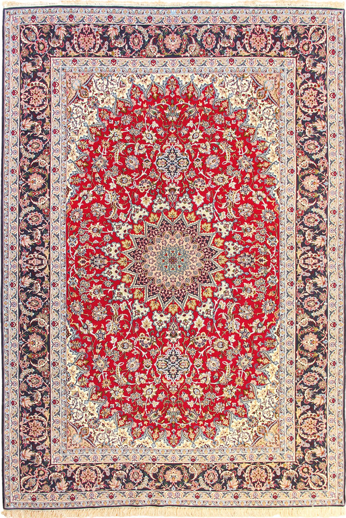 Isfahan Medallion Hand Knotted Wool & Silk Rug - 311x203 cm