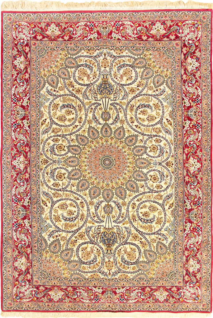 Isfahan Medallion Hand Knotted Wool & Silk Rug - 240x153 cm