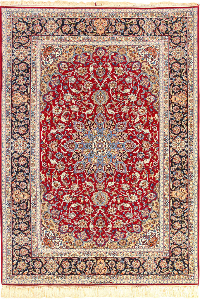Isfahan Medallion Hand Knotted Wool & Silk Rug - 230x155 cm