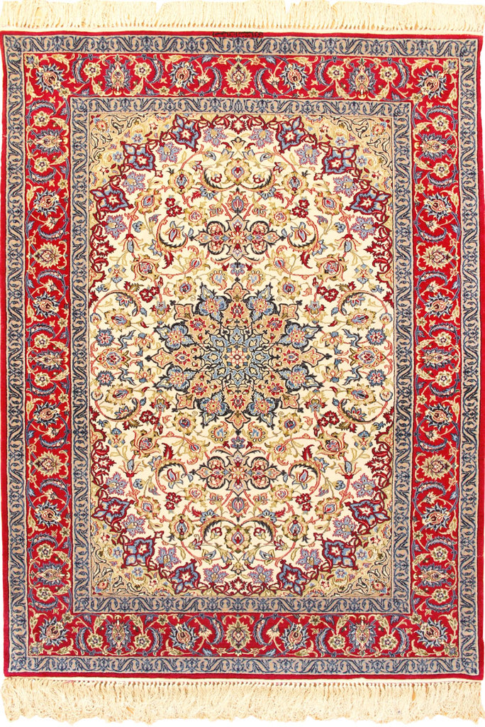 Isfahan Medallion Hand Knotted Wool & Silk Rug - 178x110 cms
