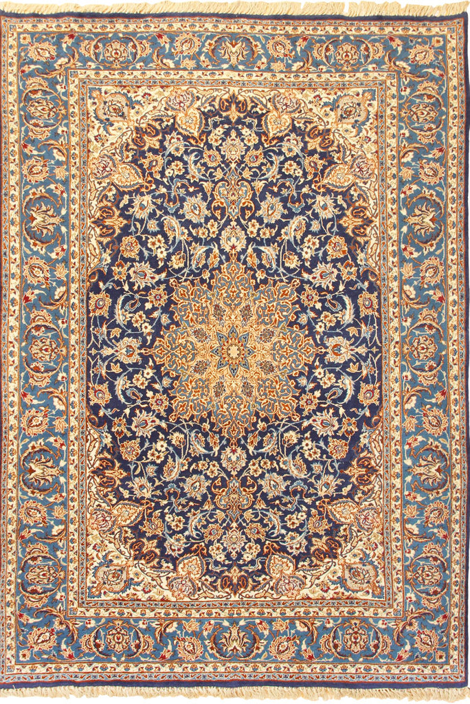 Isfahan Medallion Hand Knotted Wool Rug - 214x147 cm