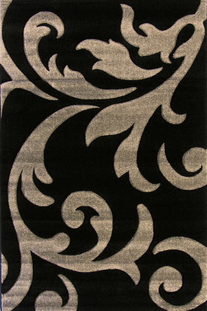 Paris Modern Floral Rug  5003 Black Grey