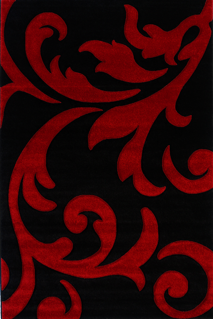 Paris Modern Floral Rug  5003 Black Red