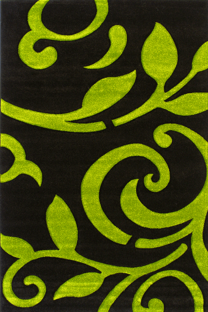 Paris Modern Floral Rug  5124 Black Green
