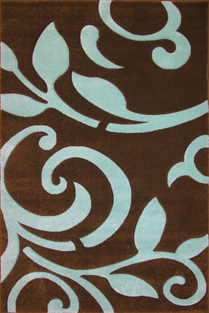 Paris Modern Floral Rug - Brown/Turquoise