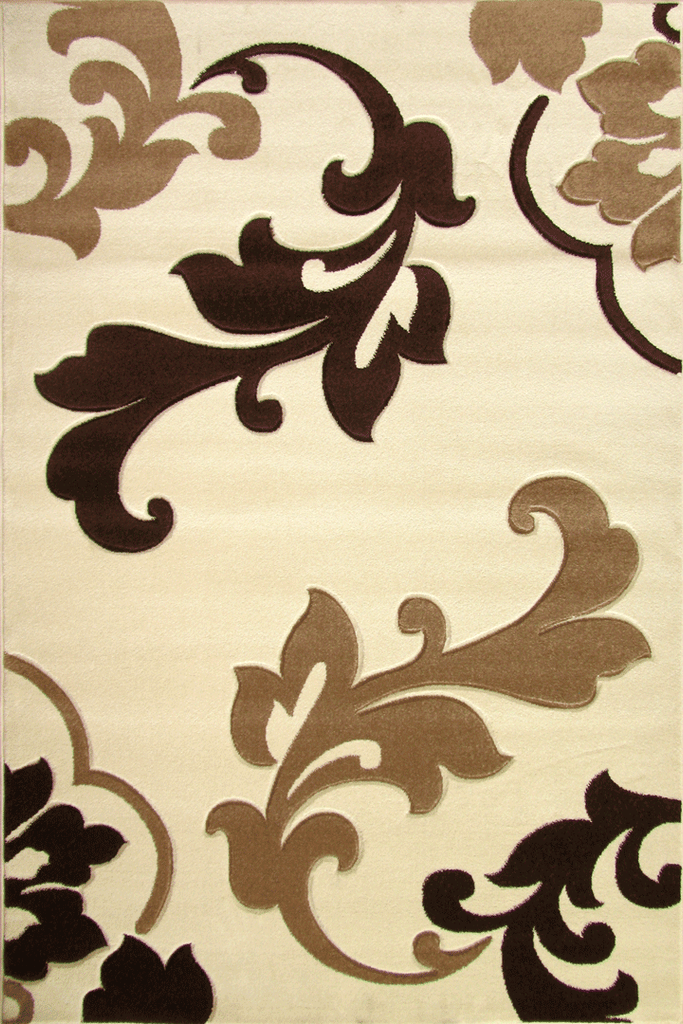Paris Modern Floral Rug  5443 Ivory Brown
