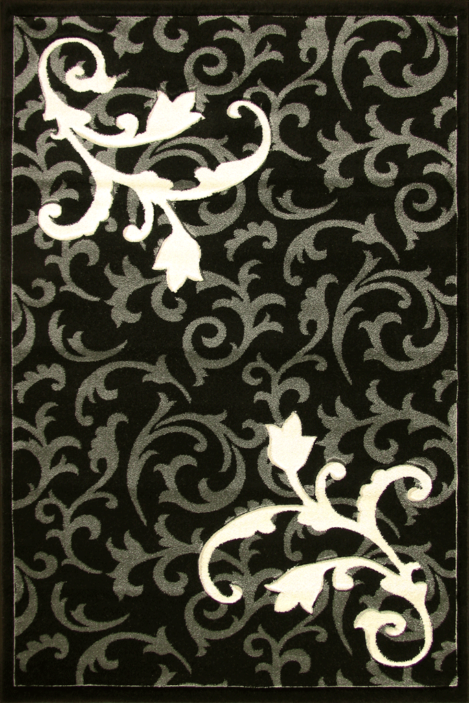 Paris Modern Floral Rug  5887 Black D Grey