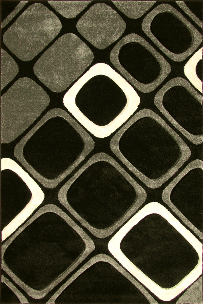 Paris Modern Geometric Rug  5917 Black Grey