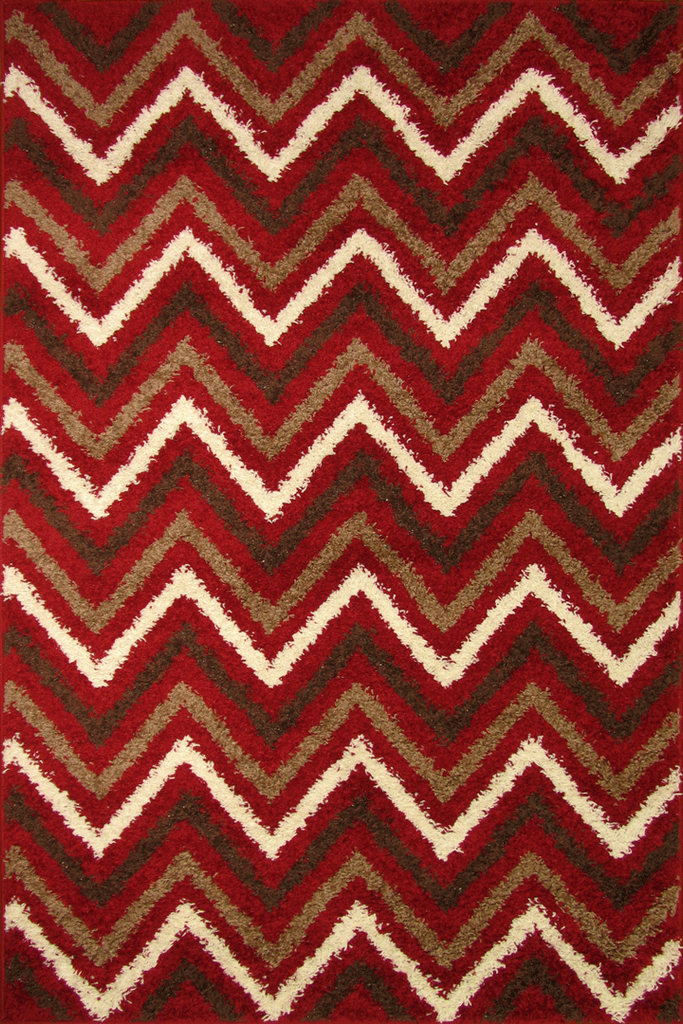 Red Chevron Shaggy Rug - Retro Interior Design Style - Australia