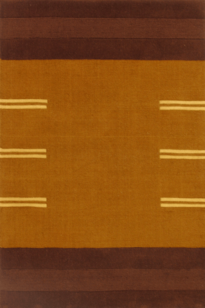 Sahand Wool Modern Stripe Rug  955 Brown Camel