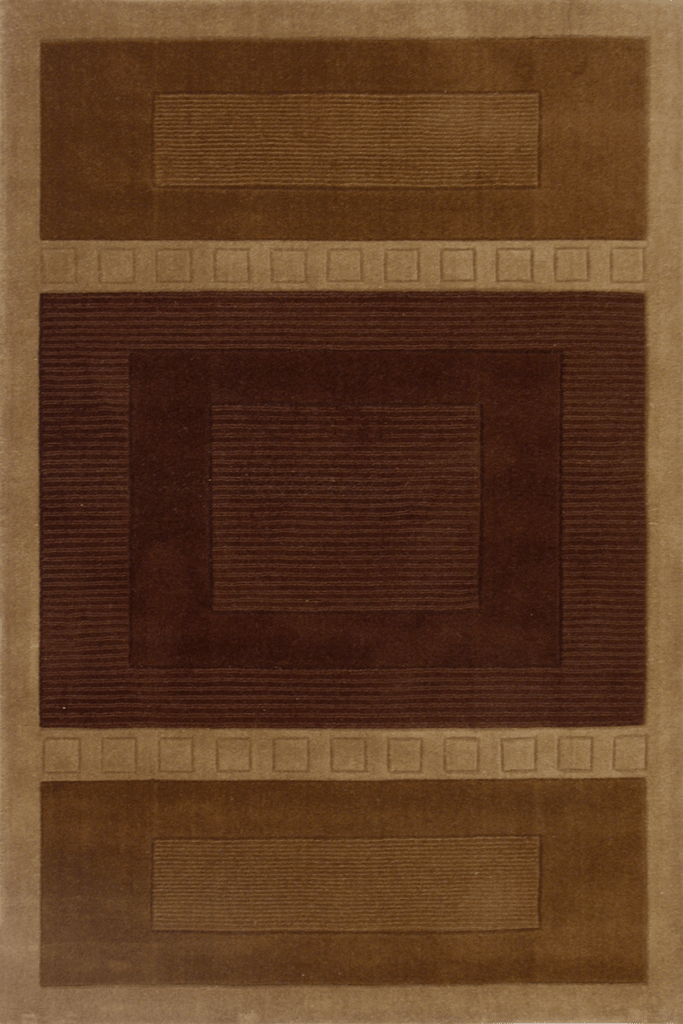 Sahand Wool Modern Square Pattern Rug  HL40 Brown
