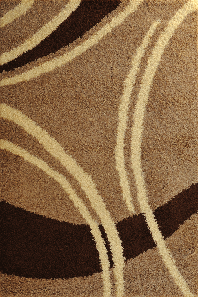 Brown Chocolate Beige Abstract Shaggy Rugs - Modern Interior Design Style