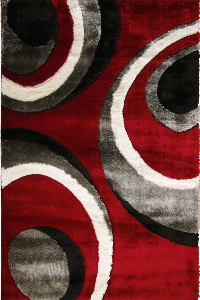 White Red Circle Abstract Shaggy Rug - Contemporary Interior Design Style - Australia