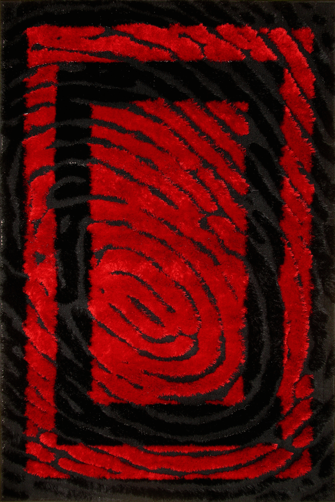 Red Black Abstract Shaggy Luxurious Rug - Contemporary Interior Design Style - Australia