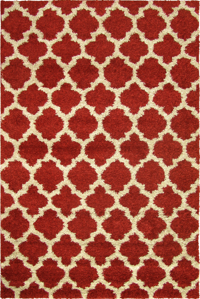 Red Trellis Multicolour Shaggy Luxurious Rug - Contemporary Interior Design Style - Australia