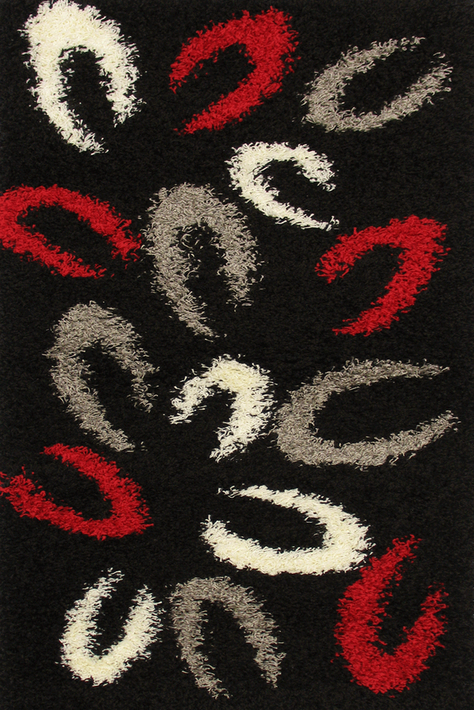 Black Animal Footprints Abstract Shaggy Rugs - Modern Interior Design Style - Australia
