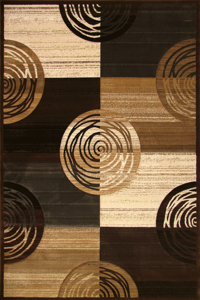 Pisa Contemporary Circle Design Rug - Dark Brown