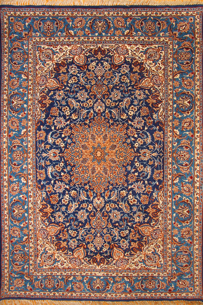 Isfahan Medallion Hand Knotted Wool & Silk Rug