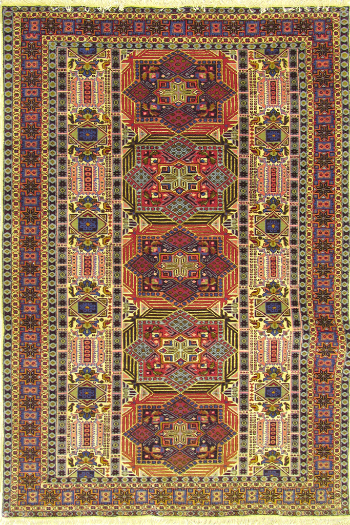 Ardebil Medallion Hand Knotted Wool & Silk Rug