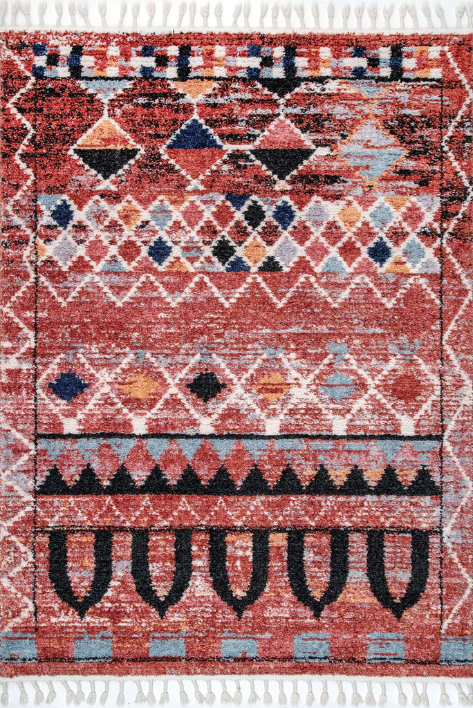 Amira Fringed Moroccan Flatweave Rugs Z026C-Rose-Rose