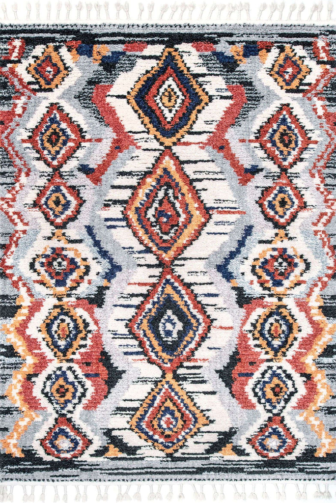 Amira Fringed Moroccan Flatweave Rugs Z242A-White-L.Grey