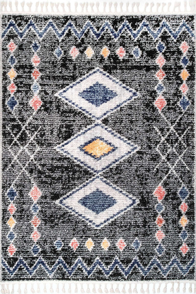 Amira Fringed Moroccan Flatweave Rugs - Z507A-Antrasite-L.Grey