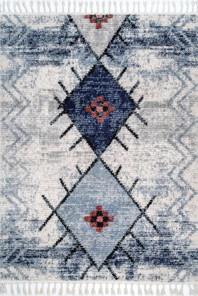 Amira Fringed Moroccan Flatweave Rugs Z510A-White-L.Blue
