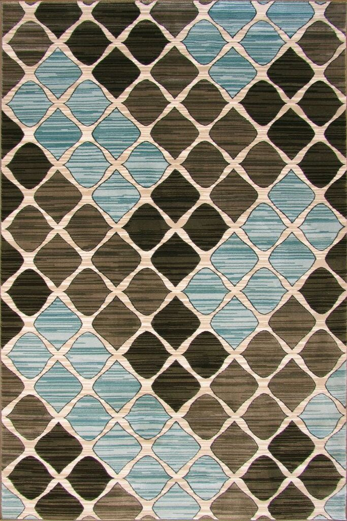 Grazia Contemporary Abstract Rug - Brown-L.Blue