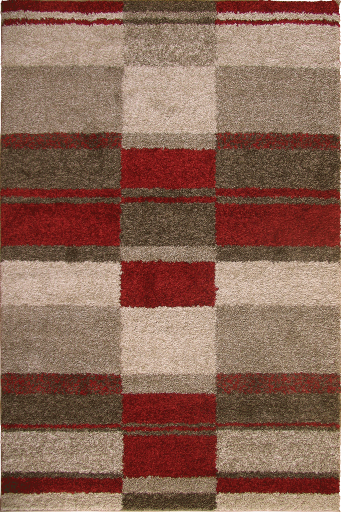 Red Beige Multicolour Shaggy Luxurious Rug - Abstract Contemporary Interior Design Style - Australia