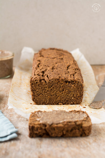 Perfectly moist vegan gluten-free pumpkin bread recipe that uses neither oils nor refined sugar