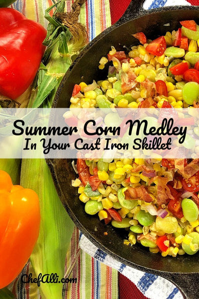Cajun Sweet Corn Medley (aka succotash in the deep South) is a traditional summer side dish that combines sweet corn and vegetables with BACON to make a tasty and colorful addition to any meal