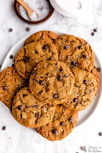 These 5 Ingredient Chocolate Chip Cookies (Vegan) are the EASIEST and BEST cookies ever! They're made with ingredients you probably already have, 5 minutes of prep and are deliciously soft & chewy