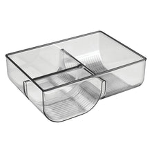 Load image into Gallery viewer, Products mdesign food storage container lid holder 3 compartment plastic organizer bin for organization in kitchen cabinets cupboards pantry shelves 2 pack smoke gray