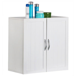 Shop white wall mounted wooden kitchen cabinet bathroom shelf laundry mudroom garage toiletries medicines tools storage organizer cupboard unit ample storage space solid construction stylish modern design