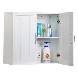 Shop for white wall mounted wooden kitchen cabinet bathroom shelf laundry mudroom garage toiletries medicines tools storage organizer cupboard unit ample storage space solid construction stylish modern design
